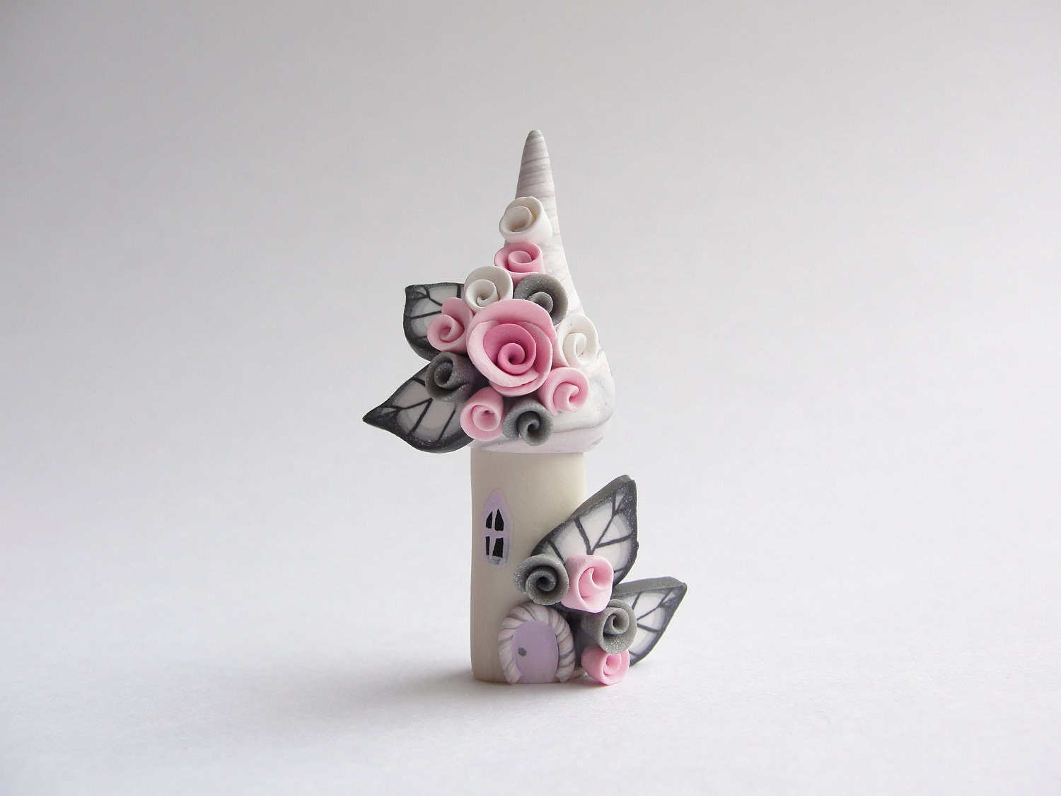 Pink And Grey Polymer Clay Fairy House Home Miniature