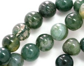Green Moss Agate (Grade B) Beads - 8mm Round - Full Strand