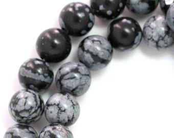 Snowflake Obsidian Beads - 8mm Round - Full Strand
