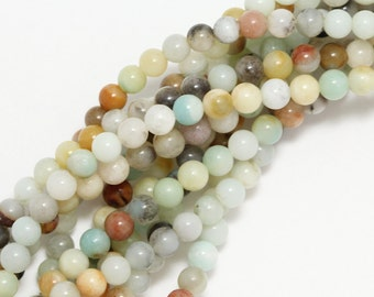 Flower Amazonite Beads - 4mm Round
