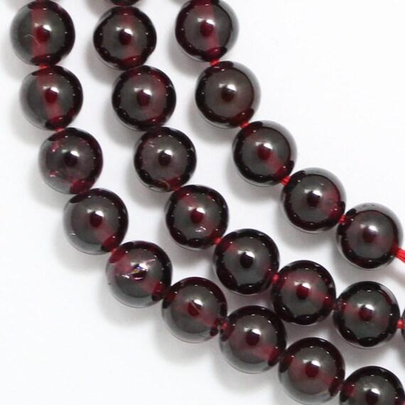Garnet Beads - 5.5mm Round - 15 Beads