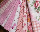 """10 Pieces Pink Series Color Collection Cotton Cloth Quilt Fabric 8 x12Inches """" Each (20 x 30CM)"""