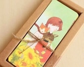 42 Sheets Cartoon Cat Girl Paper Small Bookmark Portrait Hard Paper Bobbin Card Bookmarks Sets Collection Memory Card