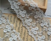Embroidery Lace Trim Lace Cotton Embroidery  1Yards 10.5cm Wide