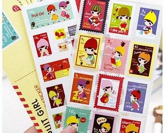 Korea  Fruit girl  series Rectangular type stamps stickers