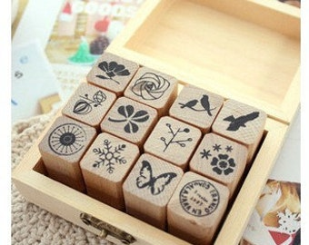 12 kinds Korea DIY Wooden Rubber Stamp Box - Diary Stamps  -Natural