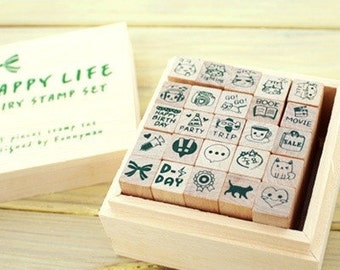 1 Sets / 25 kinds of Korea  DIY Woodiness stamp diary stamp set---Happy Life