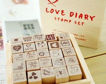 Wooden Rubber Stamp Box 1 Sets / 25 kinds of Korea  DIY Woodiness stamp diary stamp set---Love Dairy