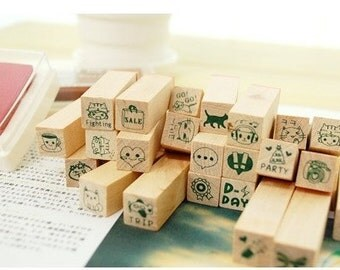 1 Sets / 25 kinds of Korea  DIY Woodiness stamp set---Happy Life