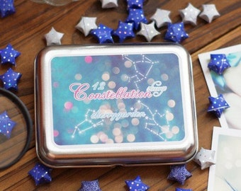 12  kinds Korea DIY Woodiness rubber stamp iron boxes constellation stamp