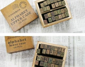 2 Sets /56 kinds Korea Capital letters /lowercase letters wooden box pack Seal to restore ancient ways diary stamp set