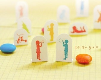 16  kinds Korea DIY Woodiness rubber stamp- little kids