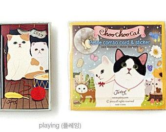 Korea creative lovely Choo Choo Cat series postcards cards/Deco Translucent Sticker Set