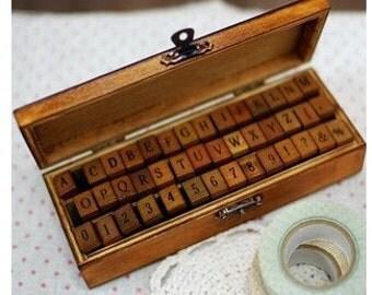 Wooden Rubber Stamp Box Vintage Print Style Capital Alphabet Stamp Number Stamp 42 Kinds Korea DIY Stamp