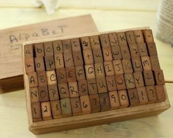 Wooden Rubber Stamp Box Print Style Alphabet Number Symbol Stamps Vintage Stamp 70 Pcs