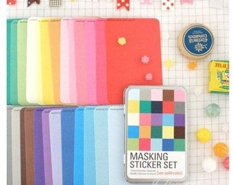 27 Sheets Korea Masking Sticker Set - Paper Deco Sticker Set -Iron Boxes-Solid