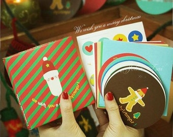 10 Sheets Korea Boxed birthday Cards blessing card -Merry Christmas Santa Claus Series