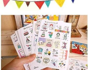 16 Sheets Korea Pretty Deco Sticker Set Paper Stamp