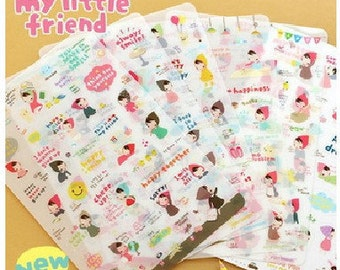 6 Sheets Korea Pretty Sticker Set -  Deco Sticker Set  -My Little Friend