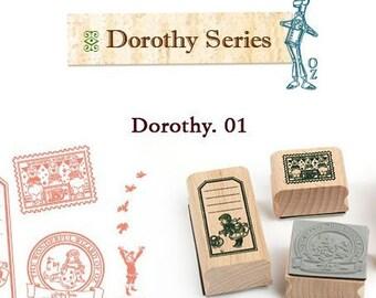 Korea DIY Woodiness rubber stamp-DIY Tin Box Stamp Set- Dorothy Series 1