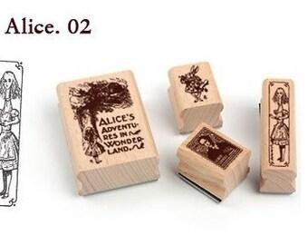 Korea DIY Woodiness rubber stamp-DIY Tin Box Stamp Set- Alice Series 2