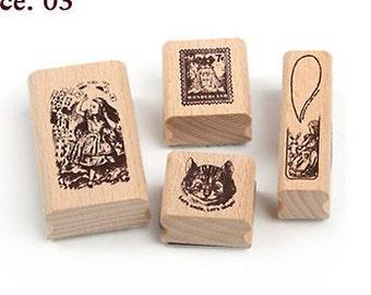 Korea DIY Woodiness rubber stamp-DIY Tin Box Stamp Set- Alice Series 3
