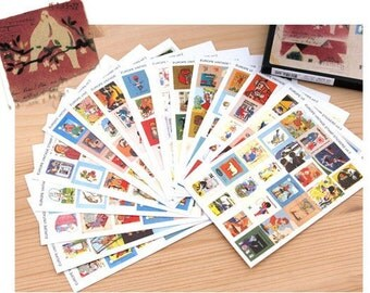 16 Sheets Korea Vintage Stamp Stickers Paper Deco Sticker --Pigeons