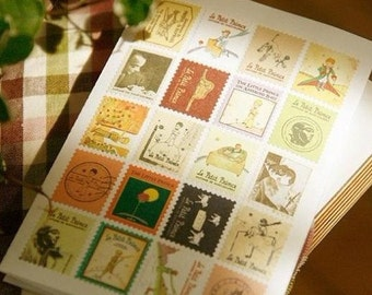 4 Sheets Korea Vintage Paper Deco Sticker Stamp Folding stamps stickers decorative stickers