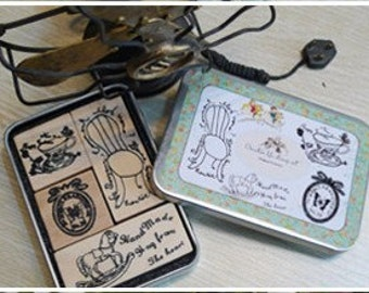 4 Kinds Korea DIY Woodiness rubber stamp
