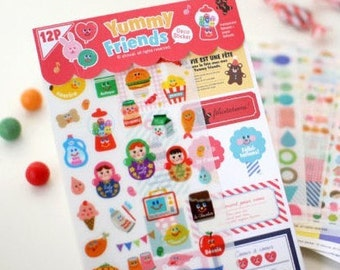 12 Sheets Korea Pretty Sticker Set - Colorful Paper Tape-Yummy Friends