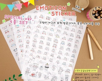 4 Sheets Korea Pretty Sticker Set - Deco Translucent Sticker Set-Lovely Diary Expression