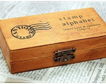 Wooden Rubber Stamp Box Alphabet Stamps Print Style Korea DIY vintage Stamps  - Lowercase Letters 30 Pcs