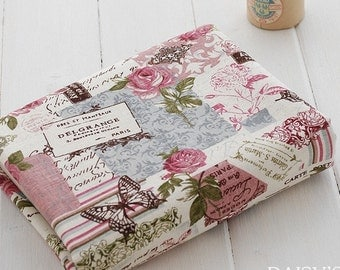 Cotton Linen Fabric Cloth -DIY Cloth Art Manual Cloth-Restore Ancient Ways Butterfly Rose  55x19Inches