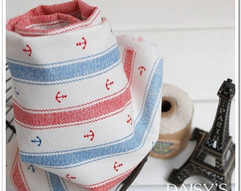Cotton Linen Fabric Cloth -DIY Cloth Art Manual Cloth -Stripe Anchors 55x19 Inches
