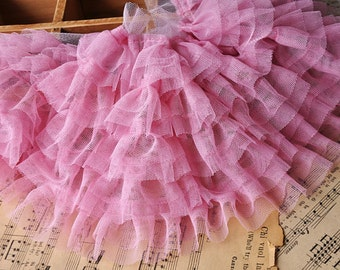 Pink Gauze Lace Trim Embroidery lace Nets Yarn Multilayer Drape Lace 5 Layers 17CM Wide