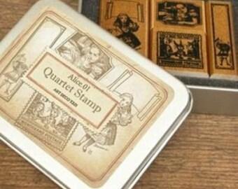 Korea DIY Woodiness Rubber Stamp-DIY Tin Box Stamp Set- Alice Series 1