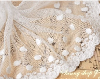 Lace Fabric Trim 2 Yard  White Embroidery Lace Gauze 13cm wide