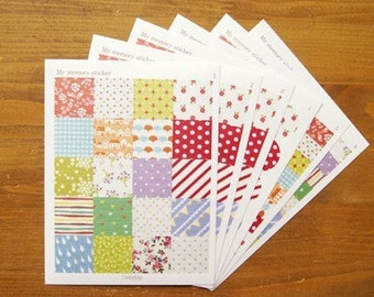 6 Sheets Korea Vintage Paper Deco Sticker Stamp
