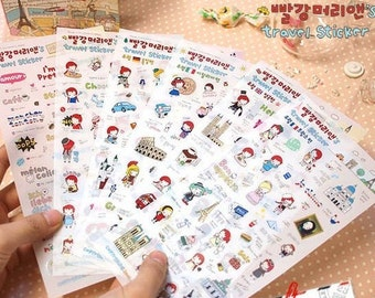 6 Sheets Korea Pretty Sticker Set - Deco Translucent Sticker Set