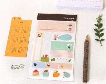 2 Sheets Korea Paper Deco Sticker Stamp-Label Sticker