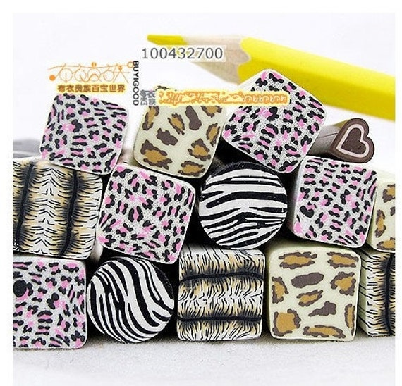 6 ps Japanese Big Polymer Clay Cane -  zebra leopard of the stripe Decoration and Nail Art (((10mm)))
