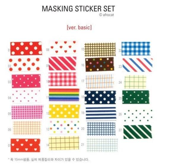 27 Sheets Korea Pretty Masking Sticker Set - Colorful Sticker Set -Basic