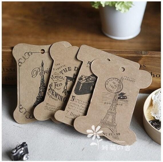 24 Pcs Antique Style Hard Paper Bobbin  Hang Card/Winding Board 6 Sets