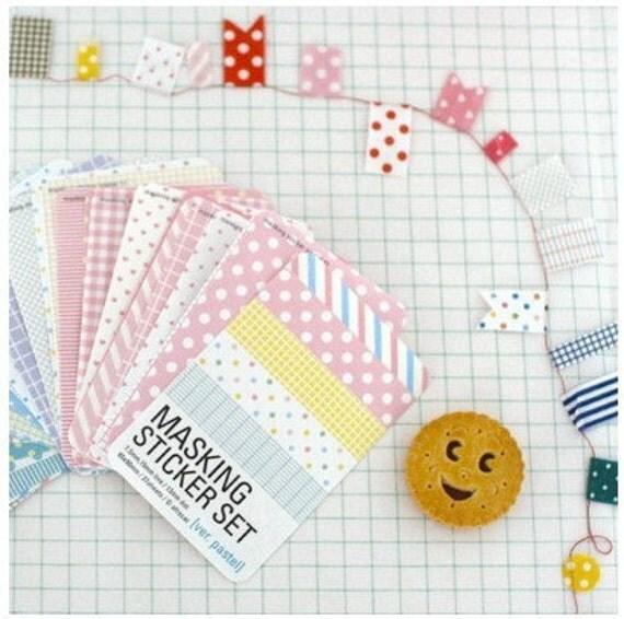 27 Sheets Korea Pretty Masking Sticker Set - Colorful Sticker Set -Pastel