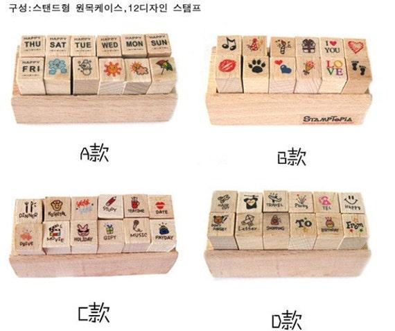 Korea DIY Woodiness Stamptopia Cartoon Icon Multi Function  Stamp Set