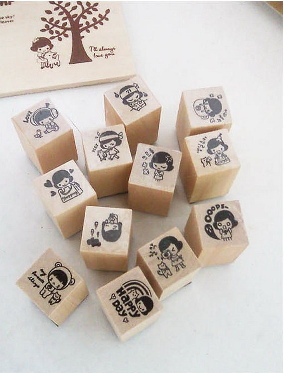 1 Sets / 15 kinds of Korea  DIY Woodiness Diary cuti stamp set---Fairy Tale Of The Girl Under Tree