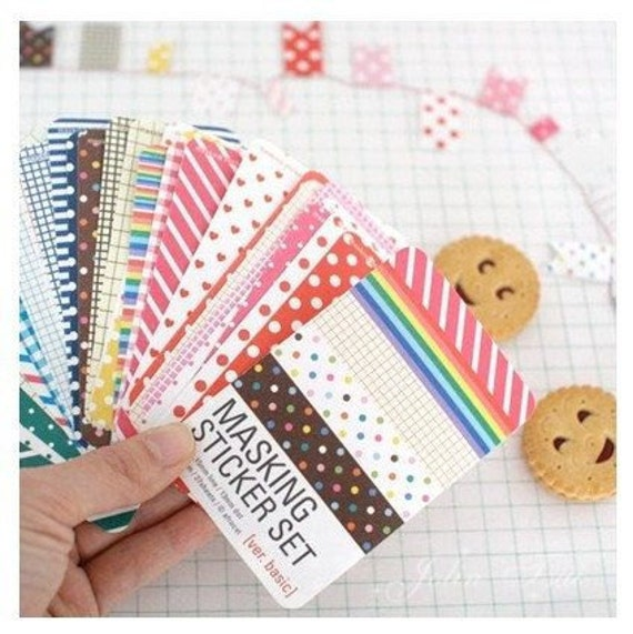 27 Sheets Korea Pretty Masking Sticker Set - Colorful Sticker Set -Basic