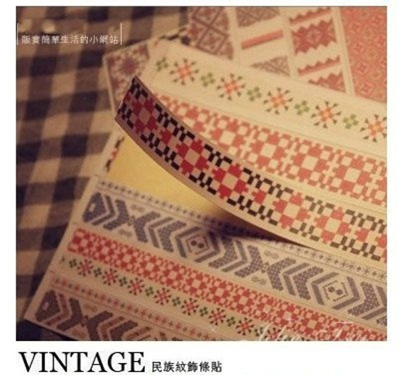 60 Pcs Korea Vintage Paper Deco Sticker Stamp Bar Shape National Wind Stickers