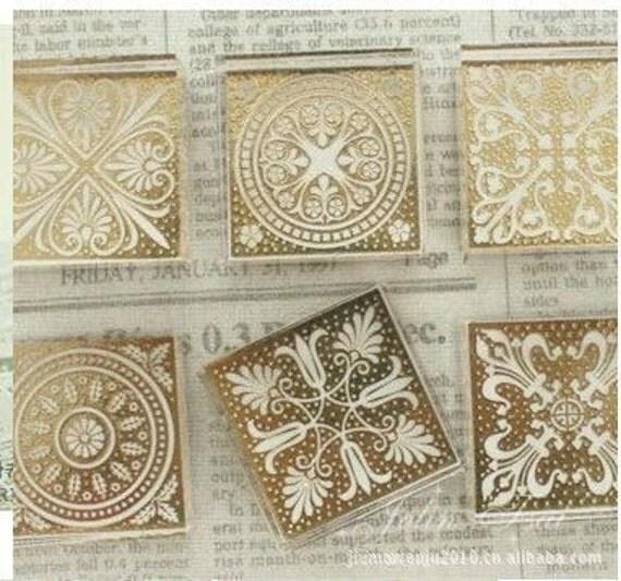 Korea DIY Crystal Square Stamp-Pattern 6 Kinds Can Be Chosen 1 Pcs