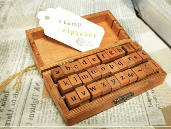 Items Similar To Wooden Rubber Stamp Box Alphabet Stamps